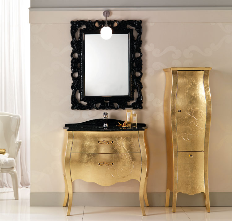luxus badm bel set tulip gold schwarz furnier klassische. Black Bedroom Furniture Sets. Home Design Ideas