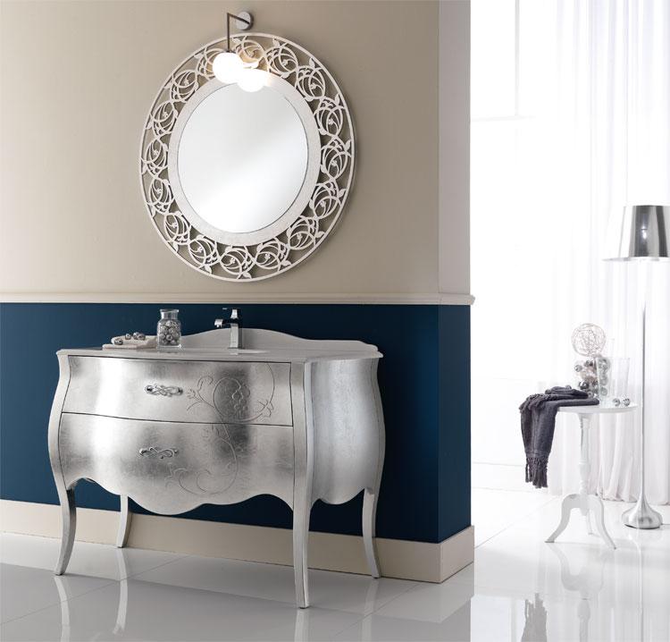 Luxus badm bel set tulip silber folie furnier klassische - Italienische designer wandspiegel ...
