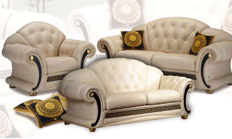 luxus m bel italien echtleder garnitur sofa couch sessel. Black Bedroom Furniture Sets. Home Design Ideas