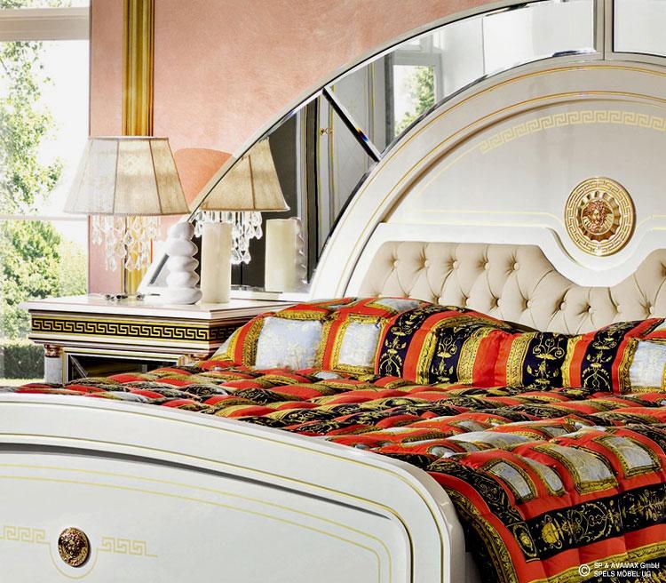 Komplett schlafzimmer set zeus wei gold hochglanz for Schlafzimmer komplett italienischer stil