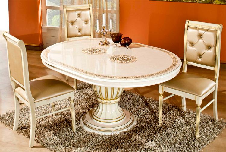 esstisch rechteckig ausziehbar rossella beige gold klassische italienische stil ebay. Black Bedroom Furniture Sets. Home Design Ideas