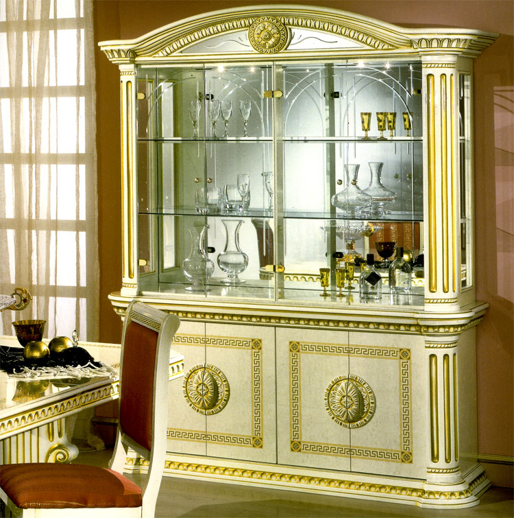 luxus vitrine 4 t r rossella beige gold hochglanz. Black Bedroom Furniture Sets. Home Design Ideas