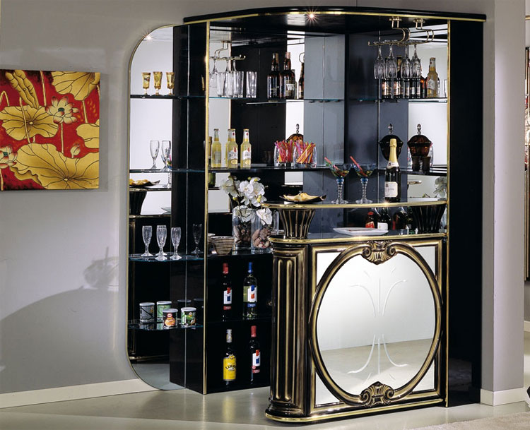 Exklusiver Eck Bar Tresen Schwarz Gold Klassische Italien