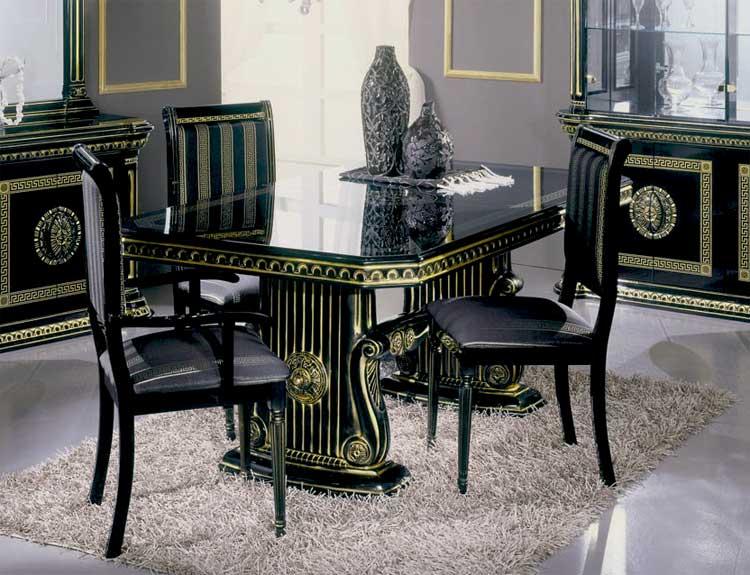 luxus wohnzimmer tische:Luxus Esstisch Ausz. Schwarz Gold Wohnzimmer Klassische Italienische