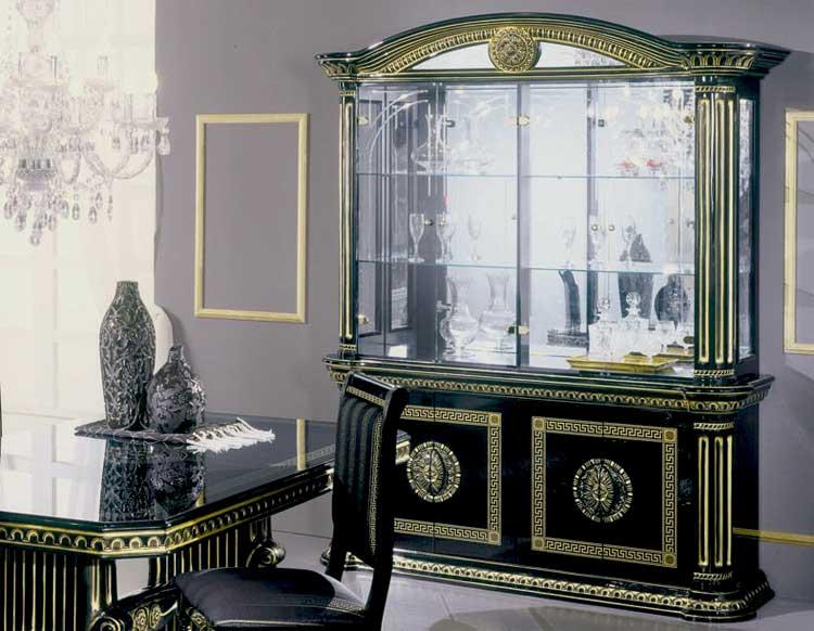luxus vitrine 4tr schwarz gold wohnzimmer klassische italienische stil m bel. Black Bedroom Furniture Sets. Home Design Ideas