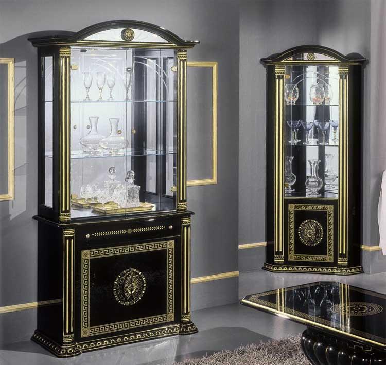 komplett vitrine eck vitrine tv schrank gold klassische. Black Bedroom Furniture Sets. Home Design Ideas