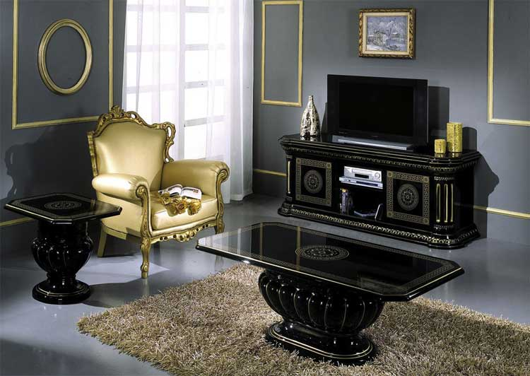 luxus tv sideboard anrichte schwarz gold wohnzimmer klassische stilm bel italien ebay. Black Bedroom Furniture Sets. Home Design Ideas