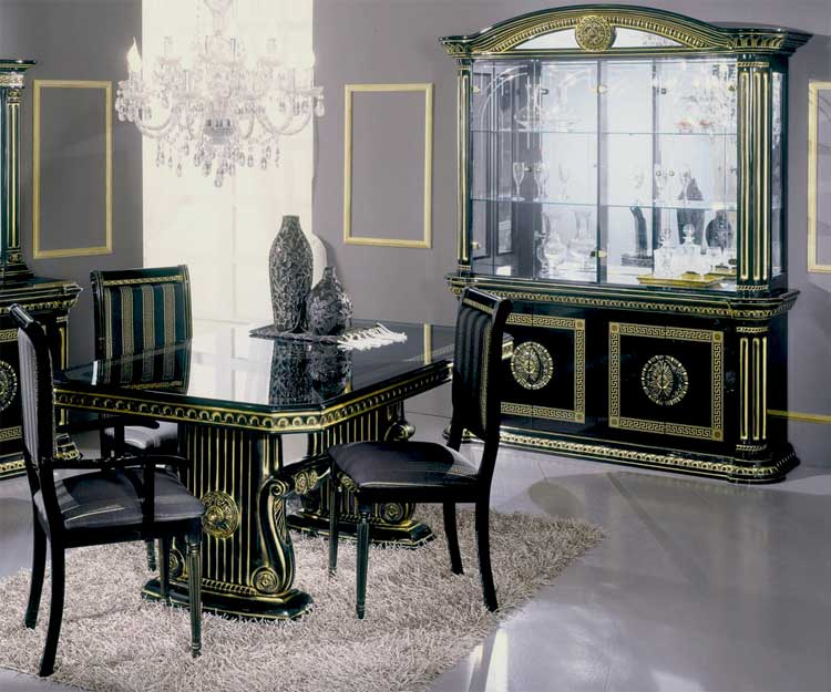 vitrine esstisch 6 stuehle schwarz gold klassische luxus stilm bel aus italien ebay. Black Bedroom Furniture Sets. Home Design Ideas