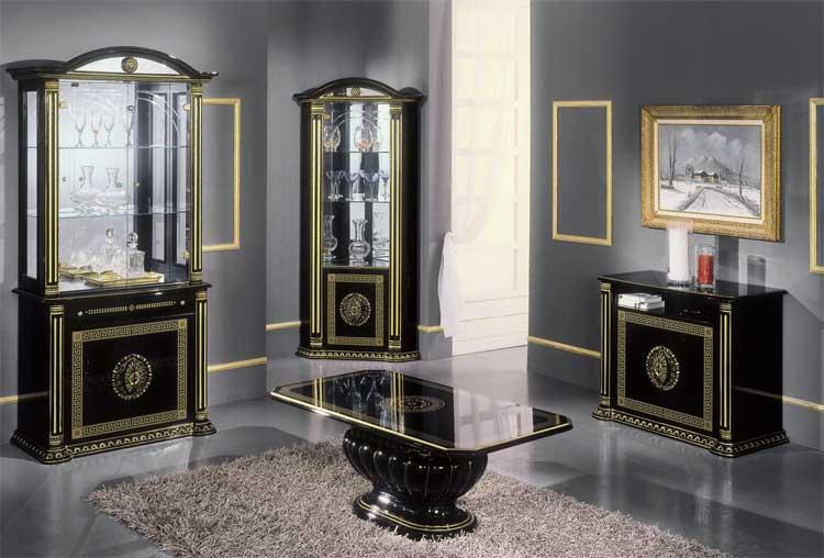 Buffet Bar Tresen Vitrine RossellaSchwarz Gold Wohnzimmer Italien Stil Mobel